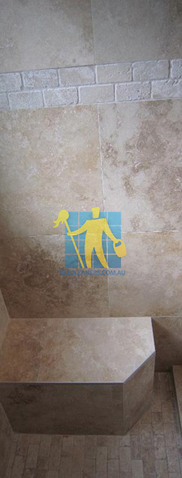 travertine tiles floor wall bathroom natural stone shower with seat Tranmere
